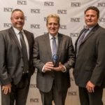 Enerpac Regional Manager, Australia and New Zealand, Denis Matulin, centre, proudly holds the PACE award, with Mining and Integrated Solutions Manager, Warren Baltineshter, right and Victorian Territory Manager Murray Johnston, left.
