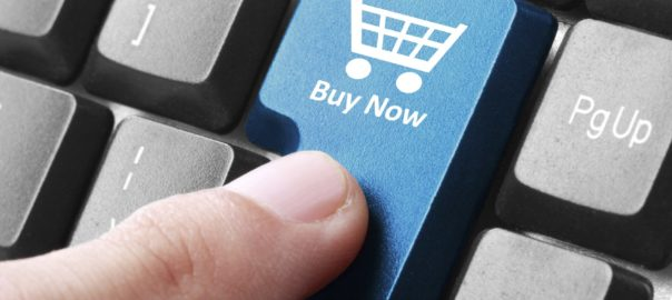 Closeup of buy now button on the keyboard