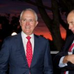 Australian Prime Minister Malcolm Turnbull (left) with Grant King, LNG 18 National Organising Committee Chairman and MD of Origin Energy during the opening of the LNG 18 conference in Perth, Monday, April 11, 2016. (AAP Image/Richard Wainwright) NO ARCHIVING