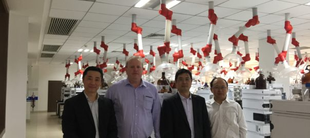 The HEC Group/CRC teamFrom left to right - Dr. Shuwei Wan (CEO, HEC, Australia),  Dr. Stuart Thomson (CEO, Rail Manufacturing CRC), Professor Guoxiu Wang (UTS) and Feng-Rong He (HEC) in the HEC Laboratory.