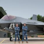 Flight Lieutenant (FLTLT) Ben Mason and Sergeant (SGT) Justin Kelly in front of a Dutch F-35A aircraft when they accompanied the Royal Netherlands Air Force (RNLAF) on their deployment to the Netherlands in June 2016.Credit: Frank Schulkes