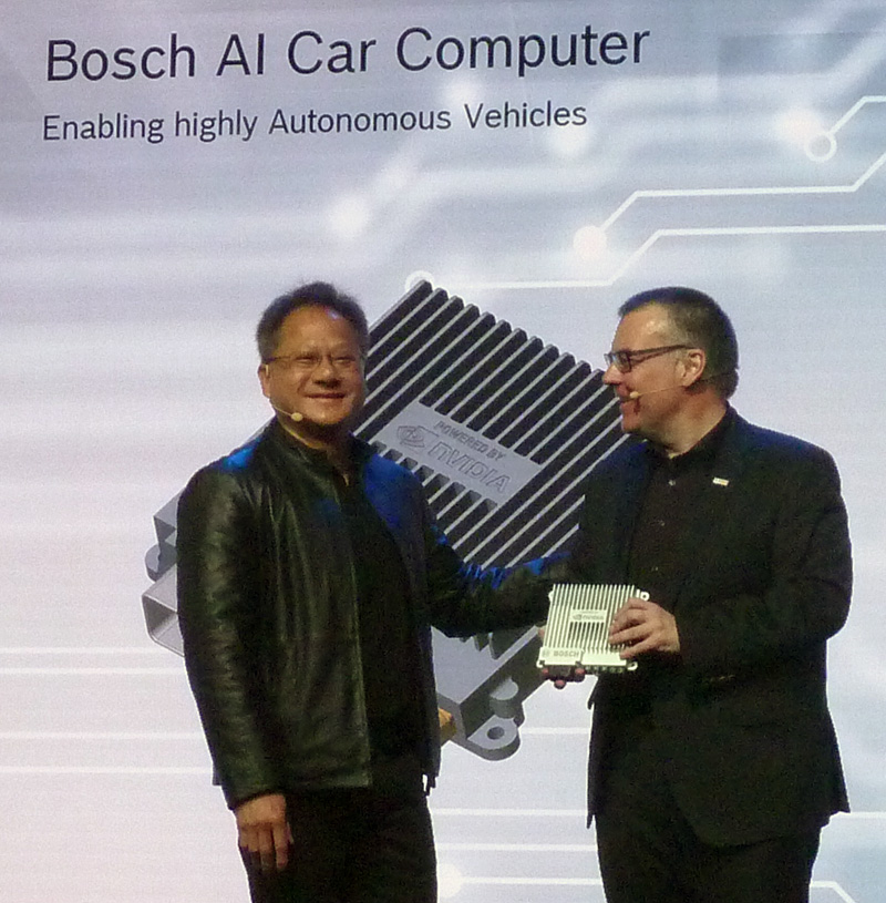 Last week, Bosch announced it is working with Nvidia  to develop artificial intelligence self-driving systems for mass market cars. Bosch CEO Dr. Volkmar Denner unveiled the collaboration during his keynote address at Bosch Connected World, in Berlin, at