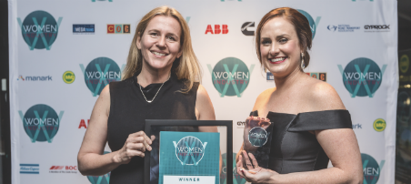 Penelope Twemlow, CEO for Energy Skills Queensland (right), receiving the Mentor of the Year Award