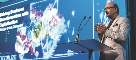 Industry consultant Kumar Parakala address an audience at Siemens' Digitalize 2017 conference.