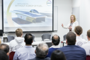Covestro managing director Rebecca Lee discusses the future of the automotive industry and solar power.