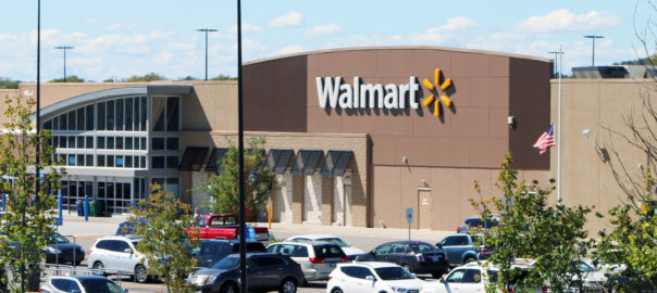 Franklin, Tennessee-December 23, 2017:  Exterior view of a new, suburban Walmart store.  Walmart is the world's largest brick and mortar retailer.