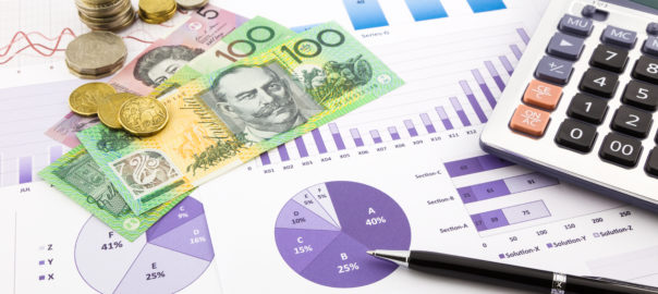 Australia currency on financial graphs report