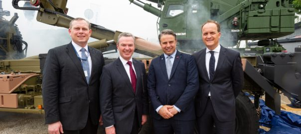 From L to R: Ben Hudson (Executive board member, Rheinmetall Defence), Christopher Pyne (Federal Minister for Defence Industry), Oscar Fiorinotto (Managing Director, Supashock), Michael Wittlinger (Head of Rheinmetall's Logistic Vehicle business unit) Picture courtesy of Supashock