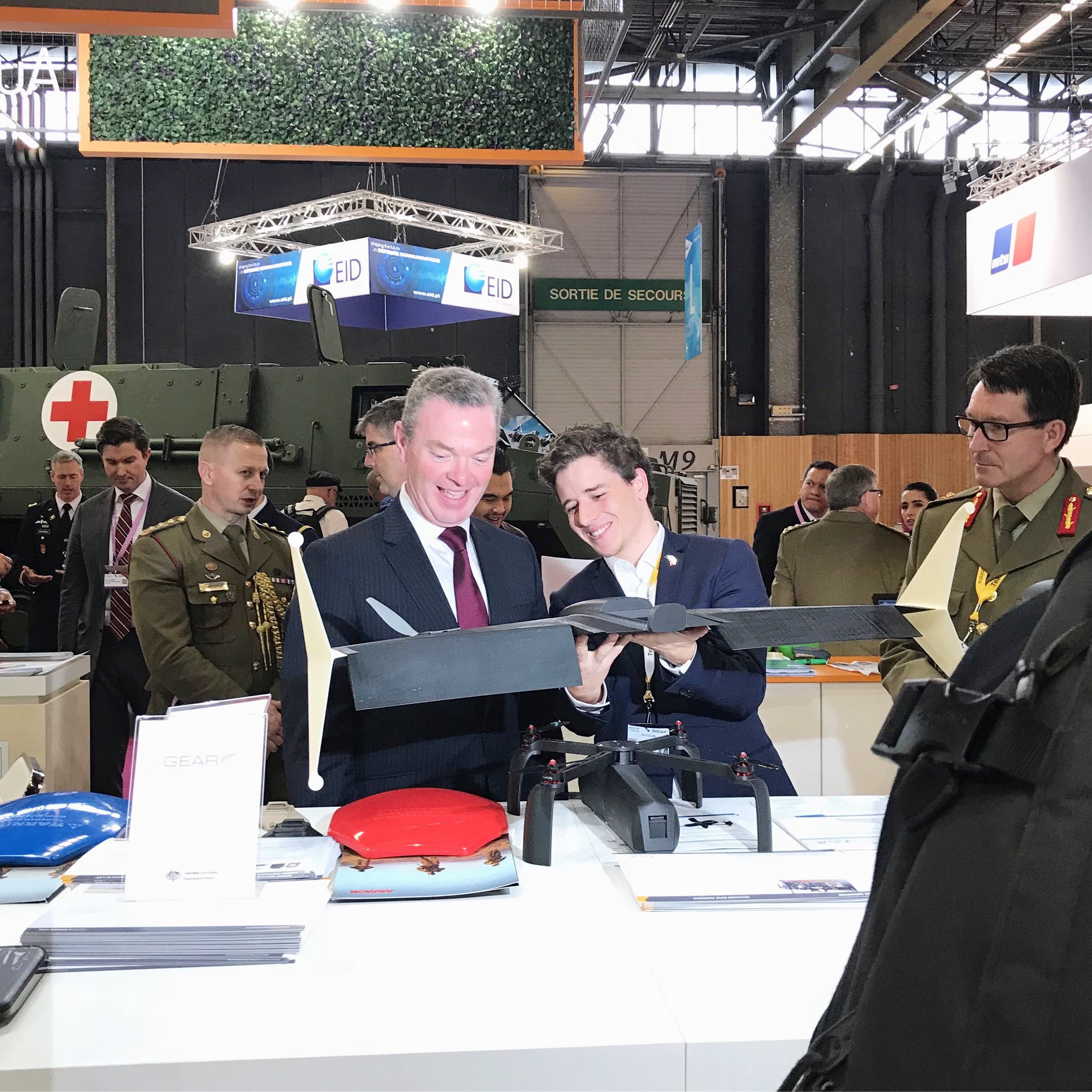 JAR Aerospace CEO, Jack Cullen and Defence Industry Minister, Christopher Pyne at Eurosatory 2018 exhibition in Paris.