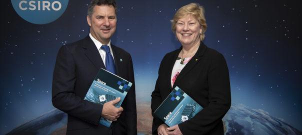 CSIRO Chief Executive Dr Larry Marshall and Australian Space Agency Head Dr Megan Clark.