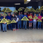 Anti-mining protesters greet NSW Premier at Tamworth Airport