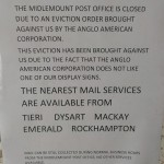 Anglo American serves eviction notice, local post office forced out