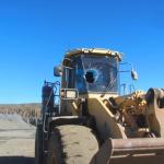 Huge 23kg rock crashes into loader, strikes operator
